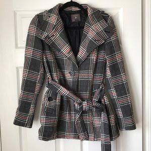 F21 plaid pea coat with tie